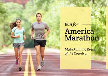 America marathon Announcement with People running