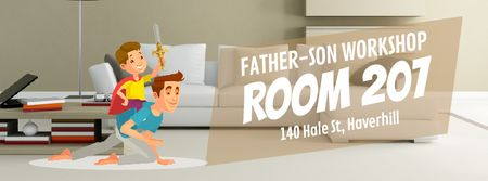 Template di design Dad and son playing knights Facebook Video cover