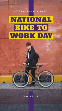 Bike to Work Day Man with bicycle in city Instagram Story Modelo de Design