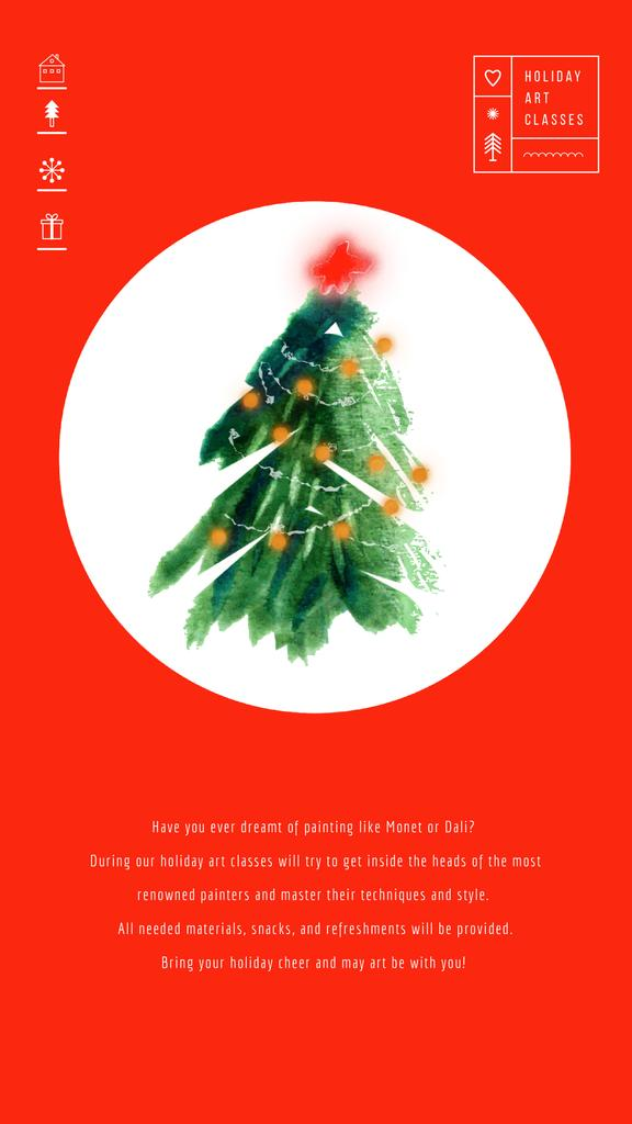 Christmas Greeting with Decorated Tree   Vertical Video Template — Создать дизайн