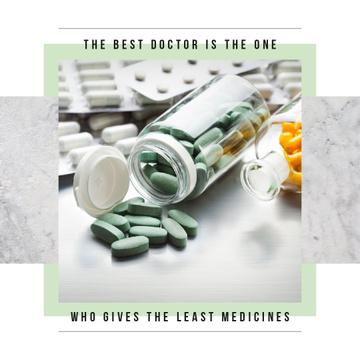 Pills in glass bottles