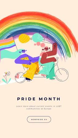 Pride Month Women on Bicycle Instagram Video Story – шаблон для дизайна