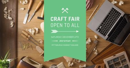 Ontwerpsjabloon van Facebook AD van Craft fair Ad with Laptop and tools