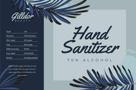 Hand Sanitizer ad on palm leaves Labelデザインテンプレート