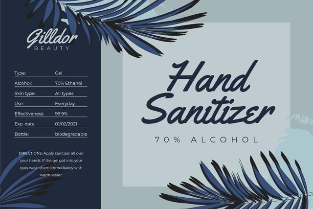 Hand Sanitizer ad on palm leaves Label Modelo de Design