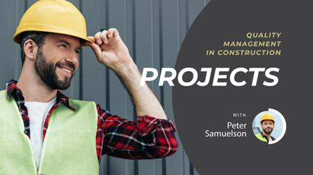 Construction Tips Builder in Hard Hat Youtube Thumbnail Design Template
