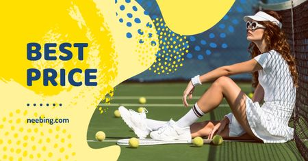 Sport Equipment Sale Woman Playing Tennis Facebook AD – шаблон для дизайна