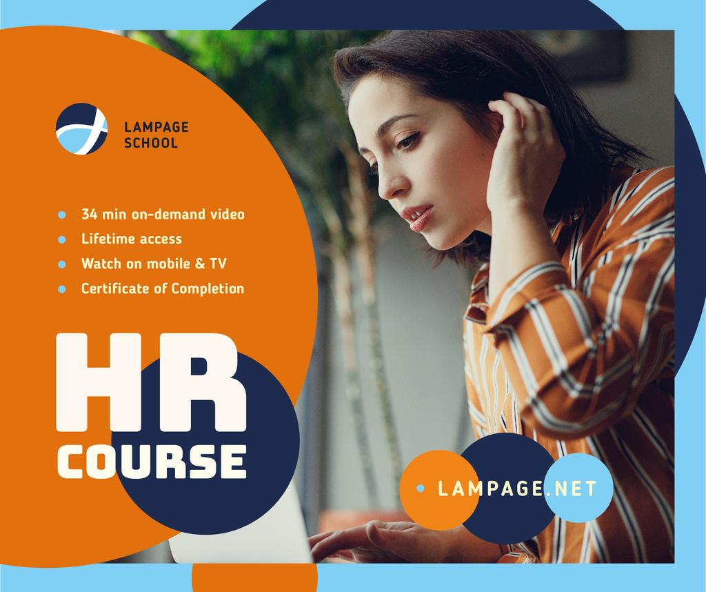 Online Courses ad Woman working on Laptop Facebook Tasarım Şablonu