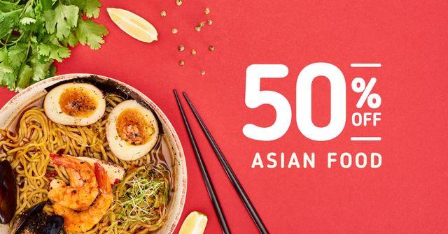 Designvorlage Asian Cuisine Dish with Noodles für Facebook AD