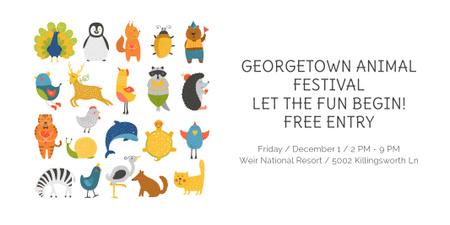 Modèle de visuel Animal Festival Announcement with Animals Icons - Twitter