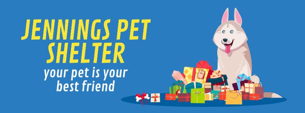 Dog sitting by bunch of gifts — Crear un diseño