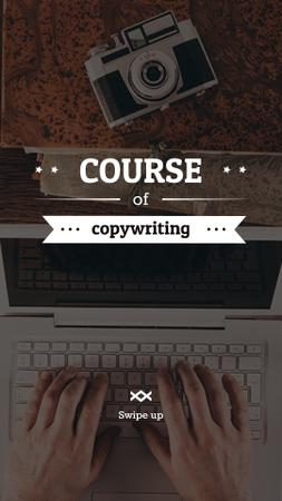 Recourses for Copywriters with Laptop at Workplace Instagram Story Tasarım Şablonu