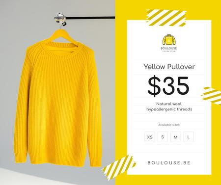 Clothes Store Offer Knitted Sweater in Yellow Facebookデザインテンプレート