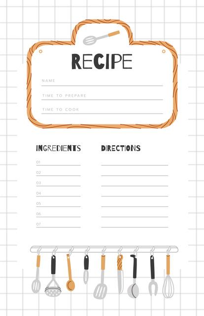 Template di design Kitchen Tools illustration in Squared notebook Recipe Card