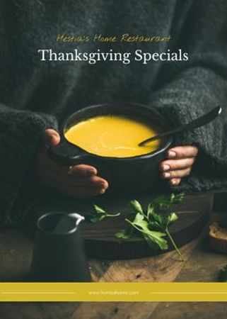 Thanksgiving Special Menu Woman with Vegetable Soup Flayer Modelo de Design
