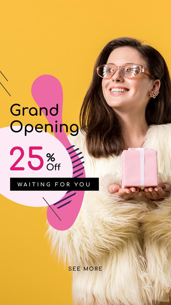 Store Opening Announcement Woman with Gift Box Instagram Story – шаблон для дизайна