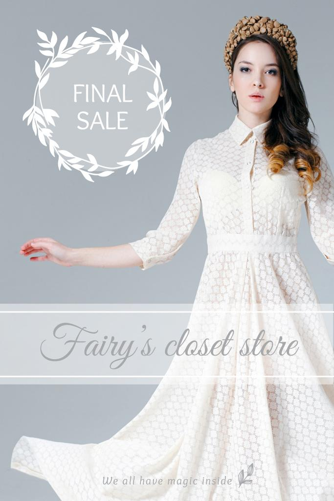 Clothes Sale Woman in White Dress | Pinterest Template — Créer un visuel