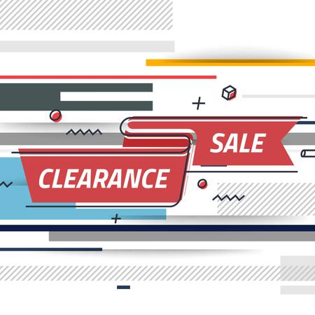 Sale Offer with Ribbon with lines and icons Animated Post Tasarım Şablonu