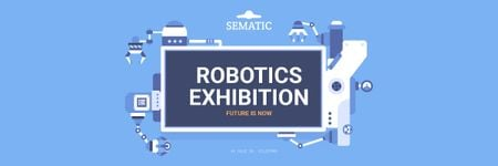 Robotics Exhibition Ad with Automated Production Line Email header Modelo de Design