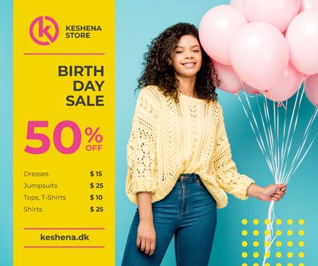 Birthday Fashion Sale Girl with Pink Balloons Facebook Tasarım Şablonu