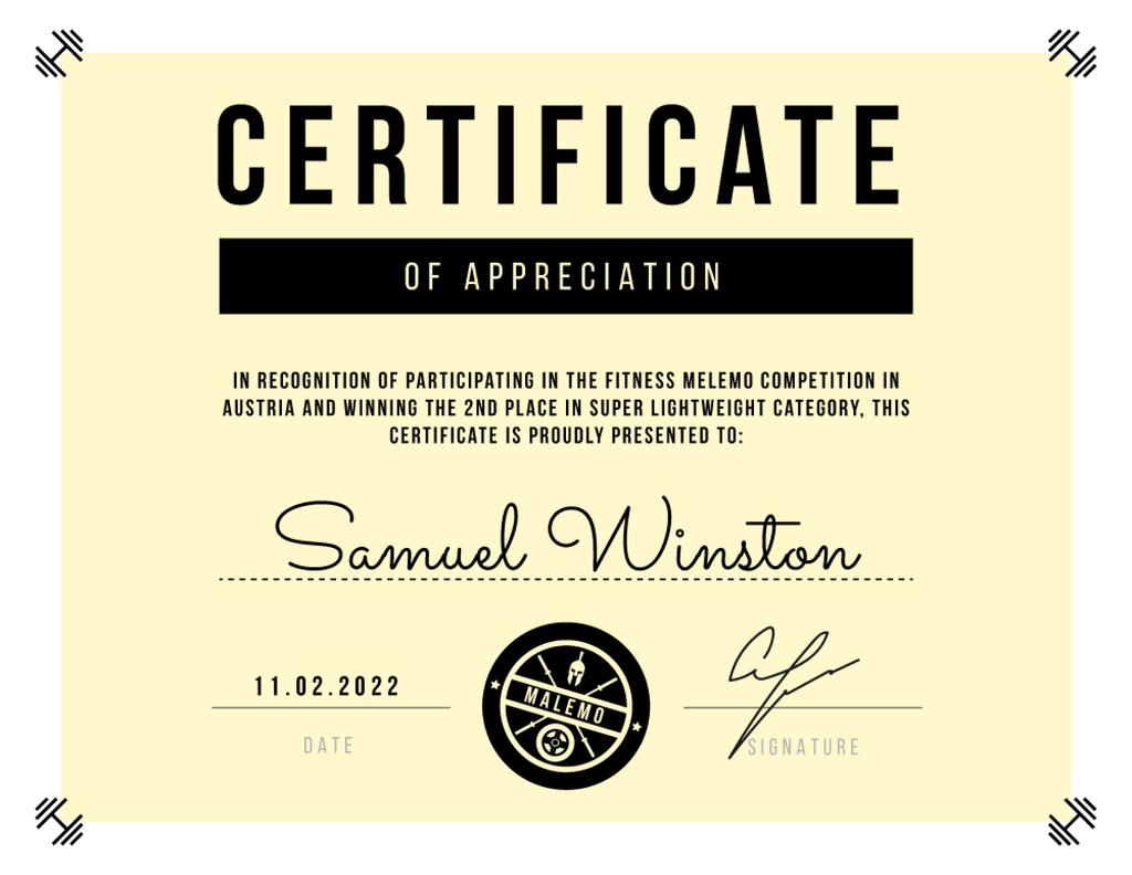Modèle de visuel Appreciation for Fitness Competition with dumbbells - Certificate