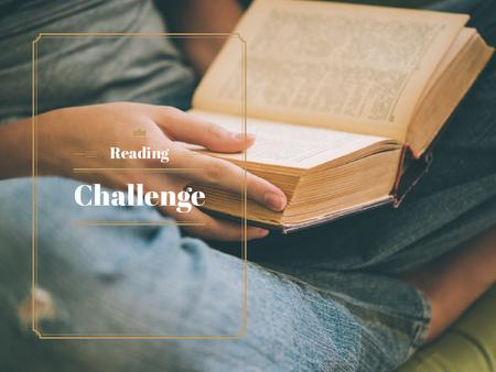 Reading Challenge with Woman Holding Book Presentation – шаблон для дизайна