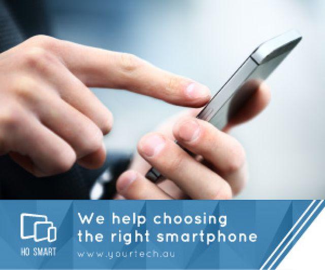 Plantilla de diseño de Smartphone Review Man Scrolling Phone Medium Rectangle