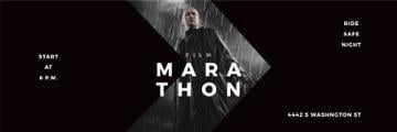 Film Marathon Ad Man with Gun under Rain | Twitter Header Template