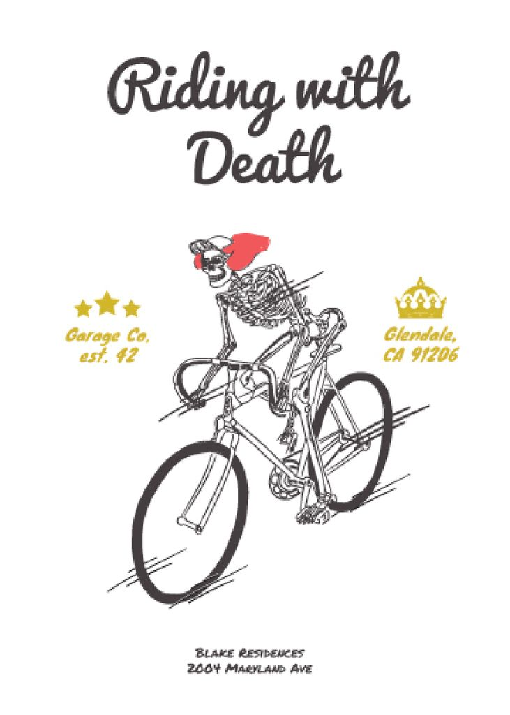 Cycling Event Invitation with Skeleton Riding on Bicycle — Create a Design