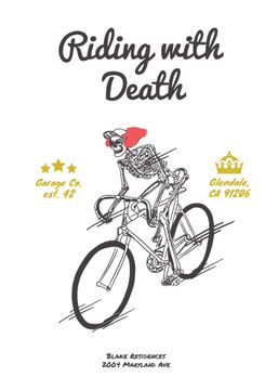 Cycling Event Invitation with Skeleton Riding on Bicycle