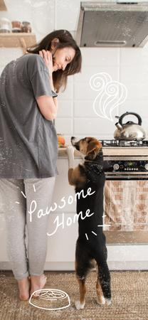 Ontwerpsjabloon van Snapchat Geofilter van Woman with Dog at cozy kitchen