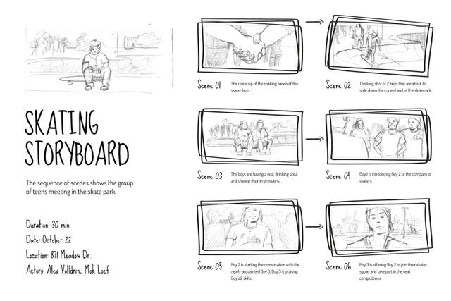 Teenagers in Skate park Storyboard Design Template