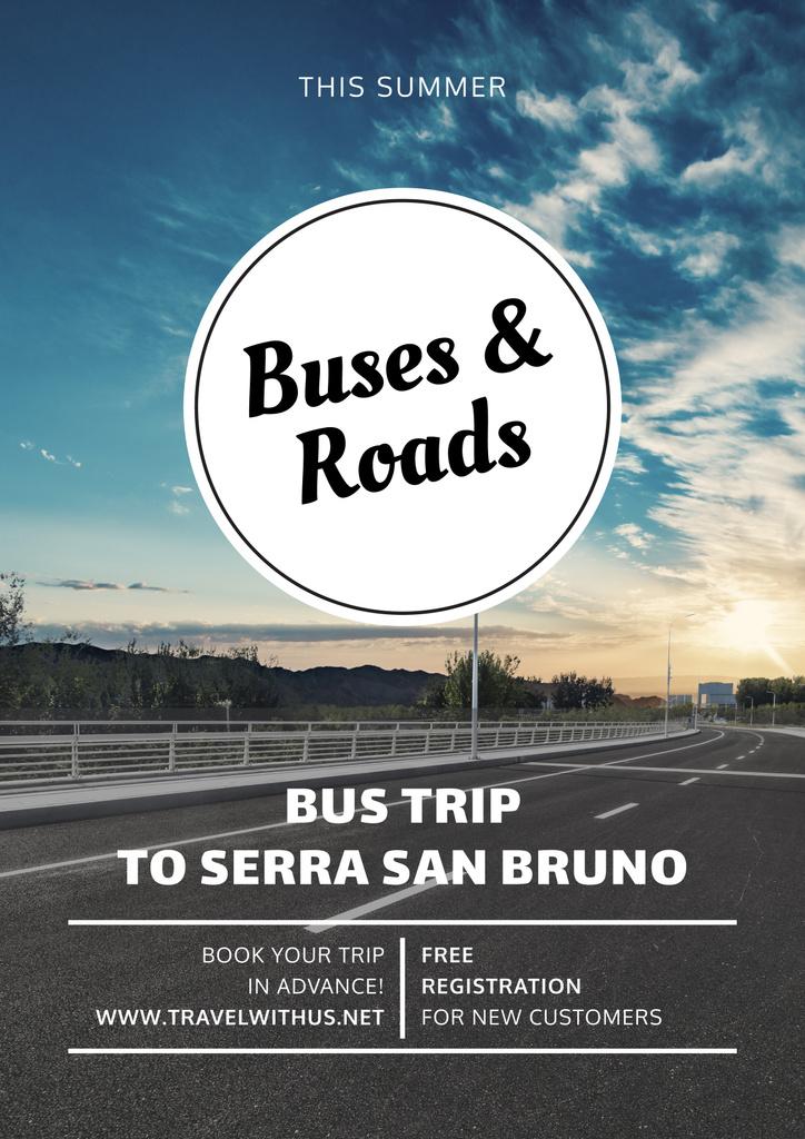 Bus trip with scenic road view — Crear un diseño