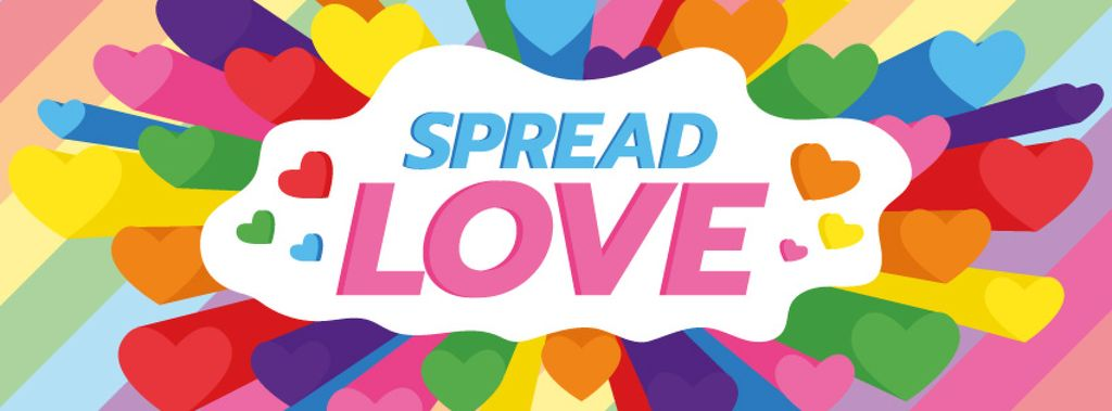 LGBT pride with Colorful Hearts Facebook cover Tasarım Şablonu