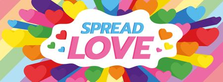 Designvorlage LGBT pride with Colorful Hearts für Facebook cover