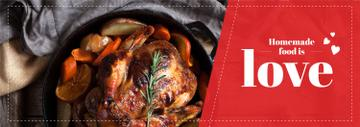 Homemade Food Recipe Roasted Turkey in Pan | Tumblr Banner Template
