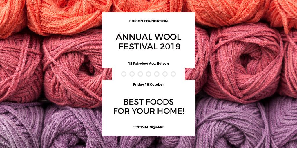 Knitting Festival Invitation Wool Yarn Skeins | Twitter Post Template — Crear un diseño