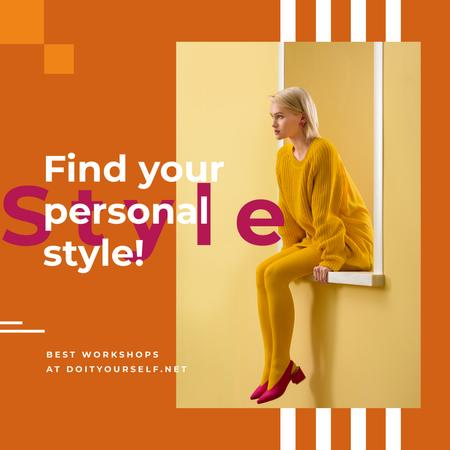 Modèle de visuel Young Attractive Woman in Stylish Clothes in Yellow - Instagram AD