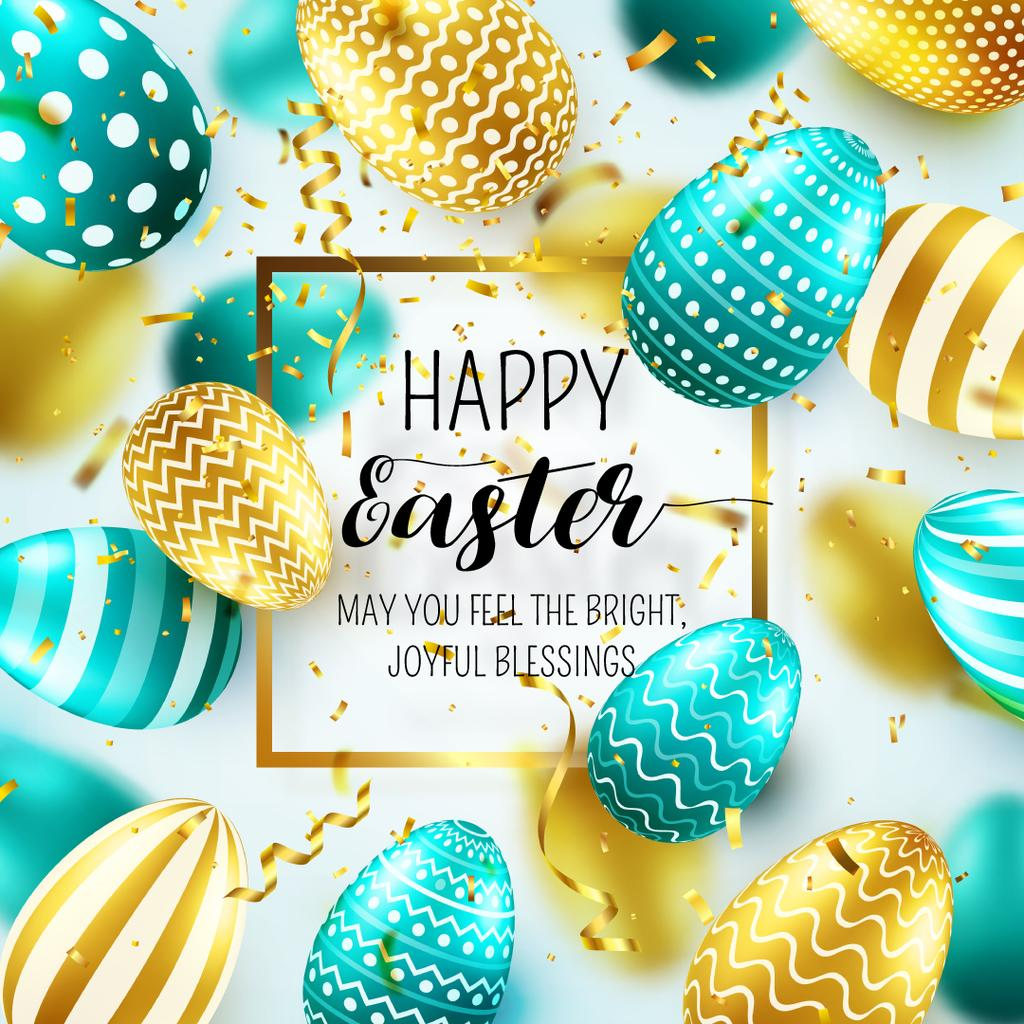 happy easter day postcard instagram post 1080x1080px