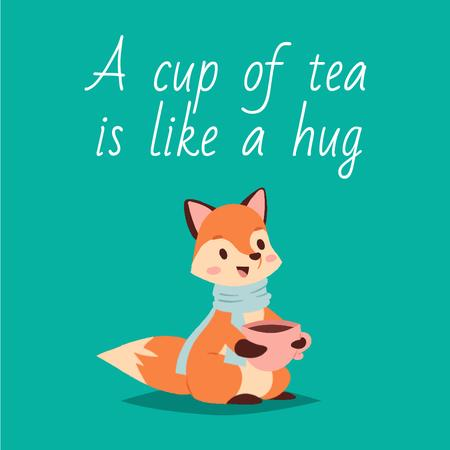 Tea Quote with Red Fox Drinking from Cup Animated Post Modelo de Design