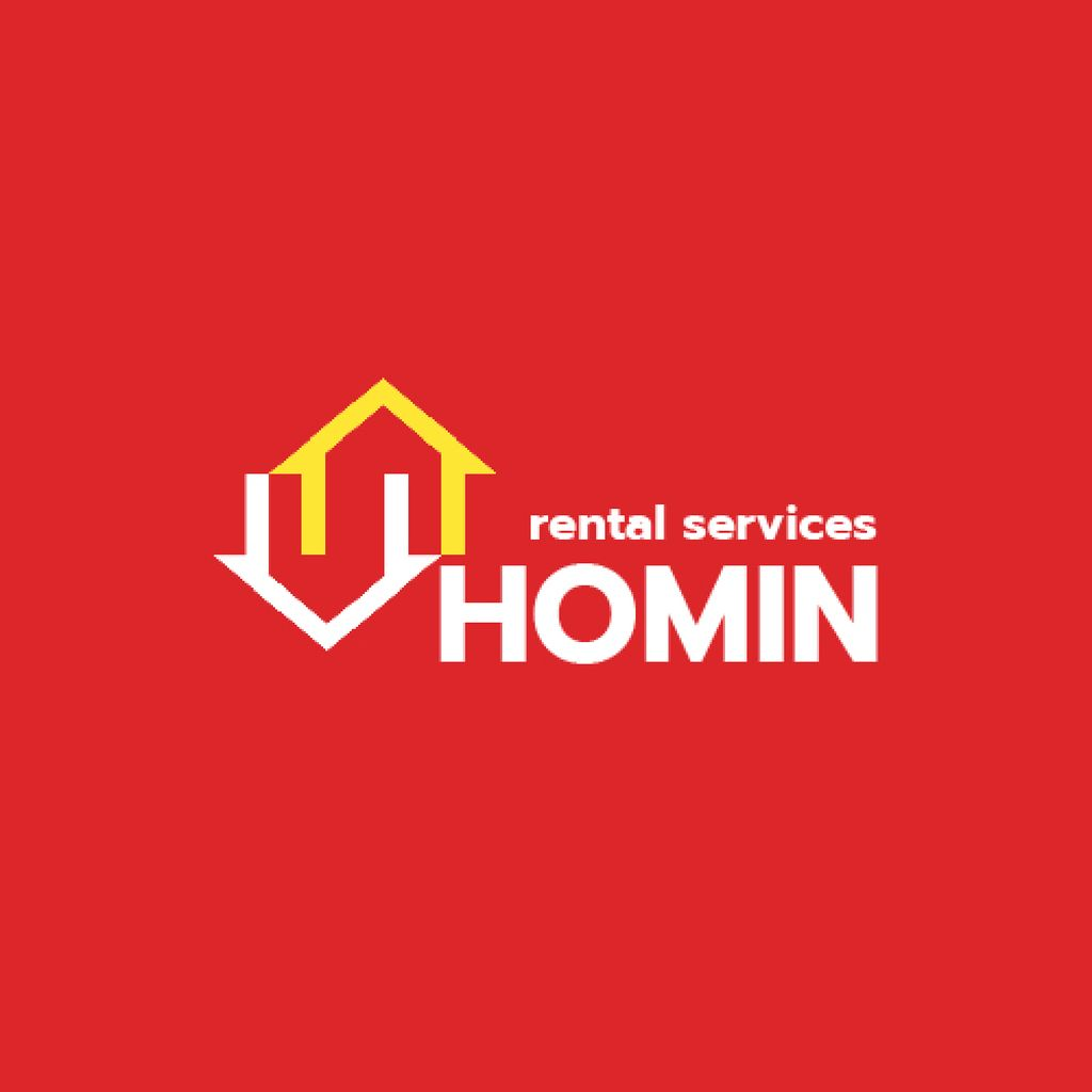 Real Estate Services Ad with Houses Icon in Red — ein Design erstellen