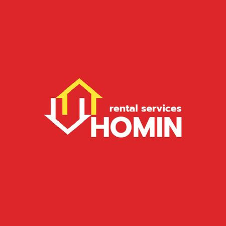Real Estate Services Ad with Houses Icon in Red Animated Logo Design Template