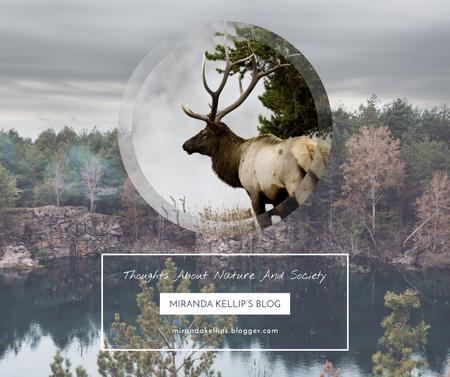 Ontwerpsjabloon van Facebook van Eco Blog ad with Wild Deer