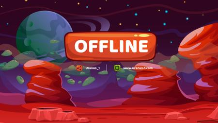 Red Planet in Magic Space Twitch Offline Banner – шаблон для дизайну