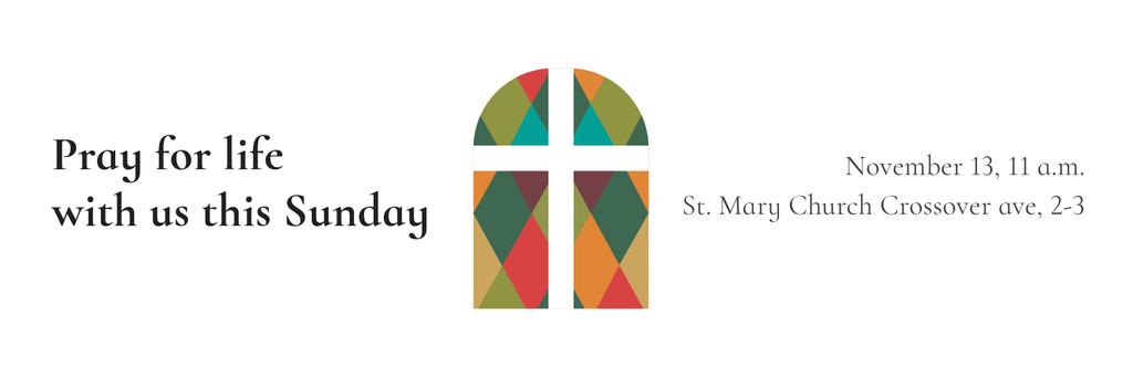 Designvorlage Pray for life with us this Sunday für Twitter
