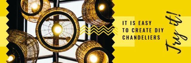 Chandelier Bulbs with Warm Light Email header – шаблон для дизайна