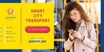 City Transport Woman in Bus with Smartphone