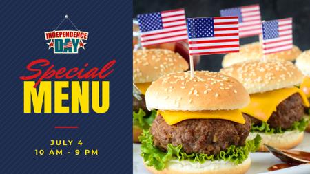 Independence Day Menu with Burgers FB event cover – шаблон для дизайну