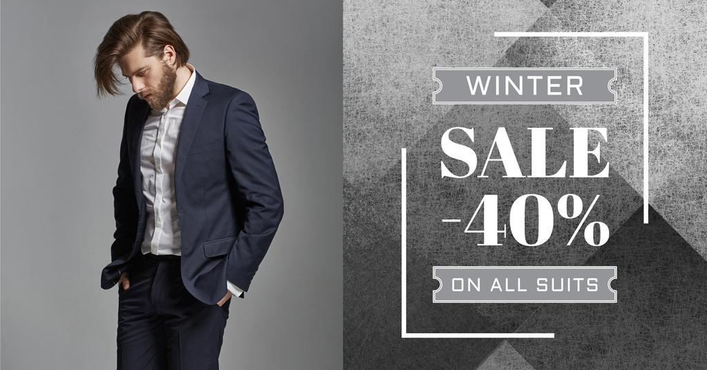 Suit sale advertisement with Stylish Man — Modelo de projeto