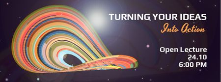 Bright rotating circles and lines template Facebook Video cover Modelo de Design